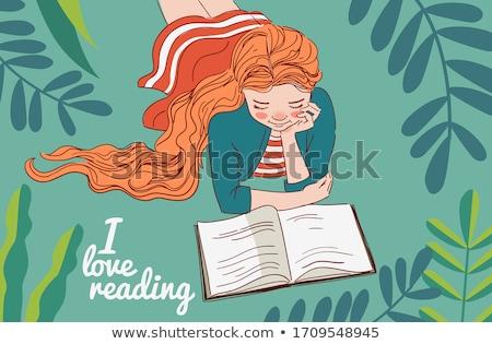 lány · olvas · könyv · zöld · illusztráció · gyermek - stock fotó © colematt
