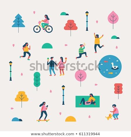 gyerekek · kéz · a · kézben · park · illusztráció · boldog · gyermek - stock fotó © robuart