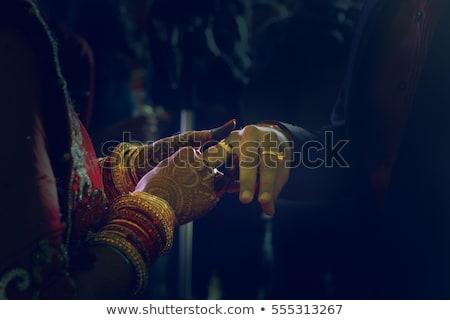 bruidegom · bruiloft · diamanten · ring · bruid · vinger · hand - stockfoto © ruslanshramko