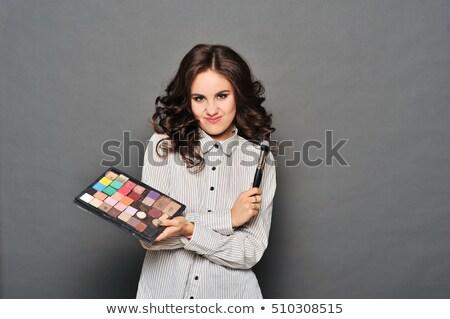 Sminkmester csinos barna hajú keret mozaik nő Stock fotó © ruslanshramko