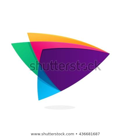 Renkli gökkuşağı üçgen logo soyut iş Stok fotoğraf © blaskorizov