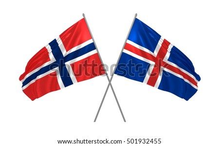 Two waving flags of norway and iceland Stock photo © MikhailMishchenko