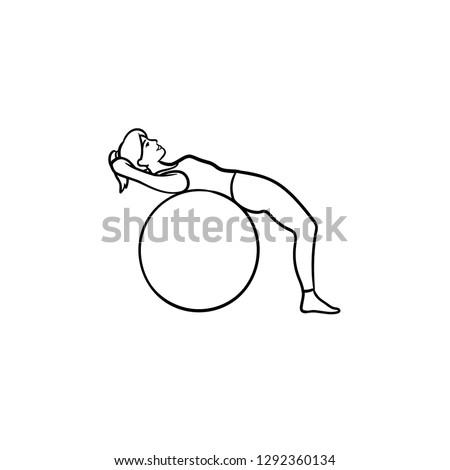 pilates · oefening · cute · slank · brunette · vrouw - stockfoto © rastudio