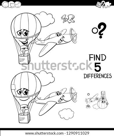 Diferenças avião balão cor livro preto e branco Foto stock © izakowski