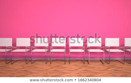 Foto d'archivio: Arancione · sedie · sala · di · attesa · scale · illustrazione · 3d · business