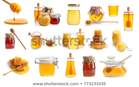 Jars with different kinds of fresh organic honey Stock photo © dash