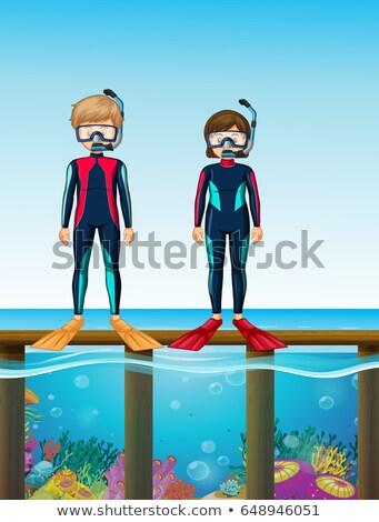 Two divers standing on bridge Stock photo © colematt
