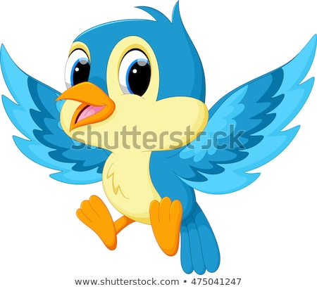 Cute Blue Bird Cartoon Character Waving Stock photo © hittoon