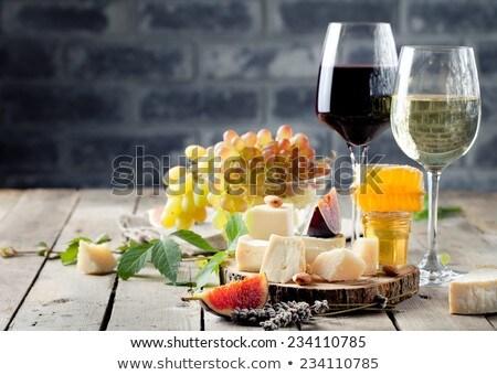 ストックフォト: ワイングラス · 石 · 表 · 赤いバラ · 白