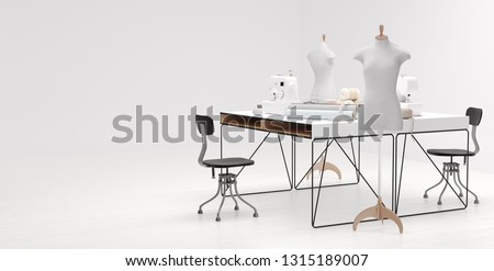 Workplace of contemporary seamstress or tailor in studio Stock photo © pressmaster