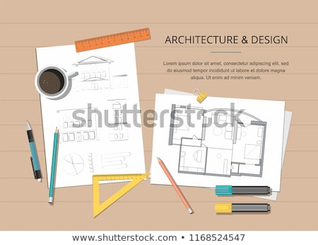 Tablet and tools with house plan concept Stock photo © ra2studio