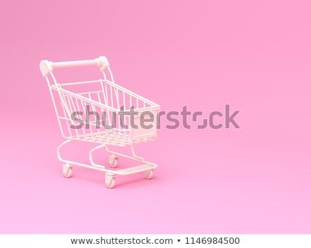 Bevásárlókocsi fehér izolált 3d illusztráció étel vásárlás Stock fotó © ISerg