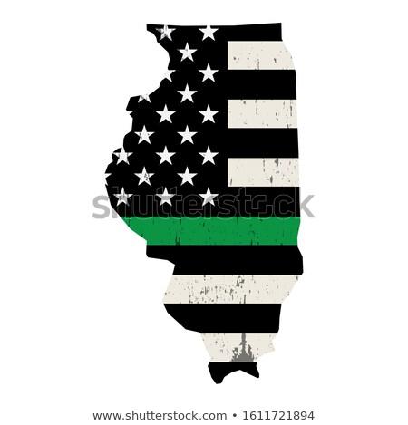 Illinois militaire soutien drapeau américain illustration forme Photo stock © enterlinedesign