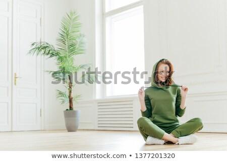 положительный женщины Lotus создают весело спорт Сток-фото © vkstudio