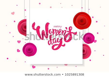 Women's day 8 march pink flower greeting card set Stock photo © cienpies
