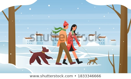 Couple Walking with Pet in Winter Park Vector Stock photo © robuart