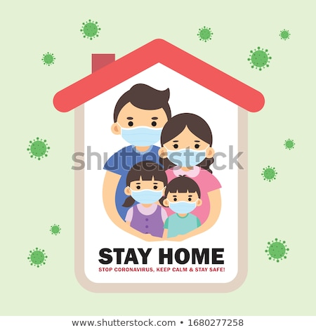 stay home and stay safe green symbol design Stock photo © SArts