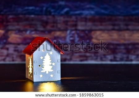 Gloed gezellig huis Rood dak sjabloon Stockfoto © lissantee