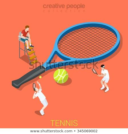 Tenis raketi izometrik ikon vektör imzalamak renk Stok fotoğraf © pikepicture