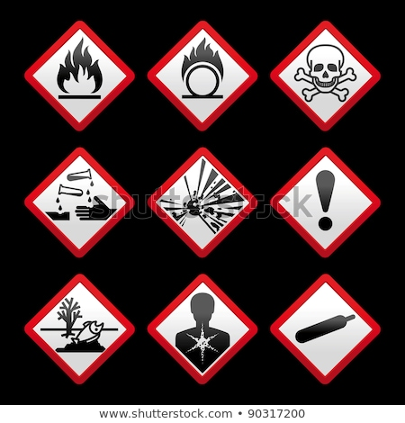 new safety symbols hazard signs black background stock photo © ecelop