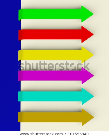 Stok fotoğraf: Six Multicolored Long Arrow Tabs Over Paper For Menu List Or Not