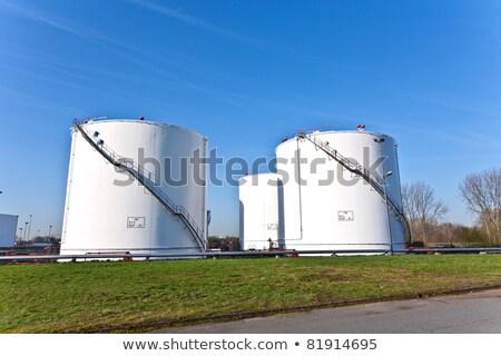 白 · ガソリン · 油 · タンク · ファーム · 青空 - ストックフォト © rufous