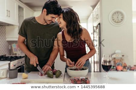 Pár főzés étel mosolyog kapcsolat kaukázusi Stock fotó © photography33