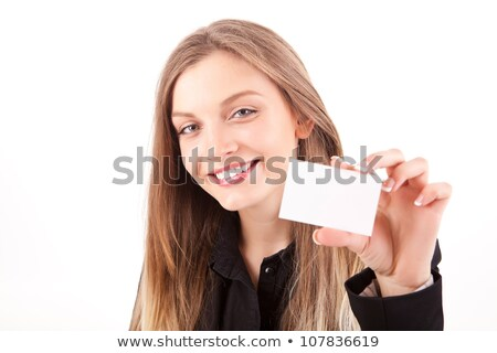 Blond woman holding business card Stock photo © photography33