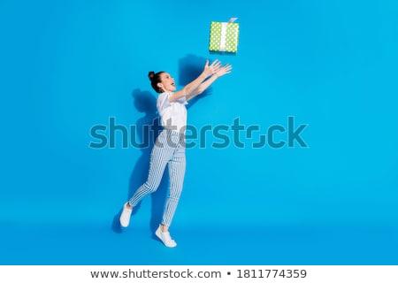 Kadın kutu high fashion kız siyah ve beyaz Stok fotoğraf © tobkatrina