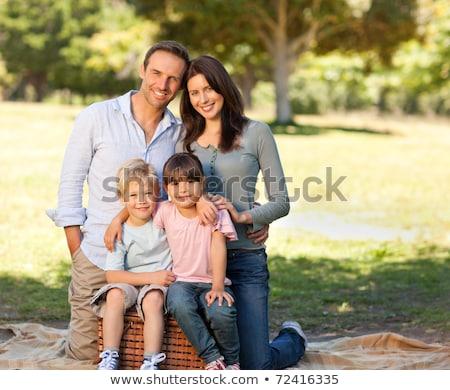 Foto stock: Sorridente · família · parque · menina · natureza · saúde