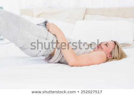 красивая · женщина · тесные · джинсов · спальня · модель · красоту - Сток-фото © wavebreak_media
