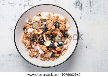 ミューズリー ブルーベリー ガラス ミルク 朝食 デザート ストックフォト © M-studio
