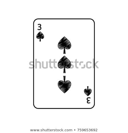 Drie spades spelen kaart witte Rood Stockfoto © Bigalbaloo