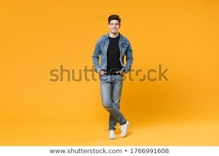 magro · ragazzo · indossare · casuale · denim · shirt - foto d'archivio © feedough