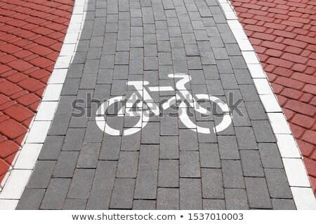 Ok boyalı zemin kentsel sahne bisiklet yol Stok fotoğraf © carloscastilla