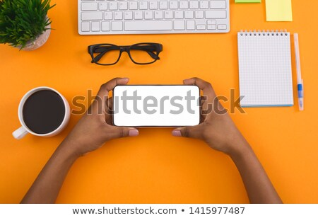 Woman using smart phone in horizontal landscape orientation Stock photo © stevanovicigor