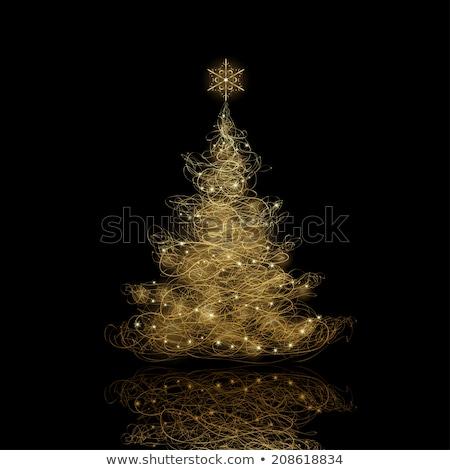 рождественская елка черный плакат дерево свет Сток-фото © fresh_5265954