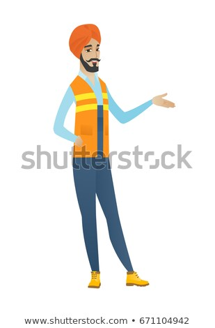 Hindu builder with arm out in a welcoming gesture. Stock photo © RAStudio