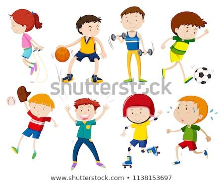 Stok fotoğraf: Ayarlamak · çocuklar · mutlu · spor · uygunluk · arka · plan