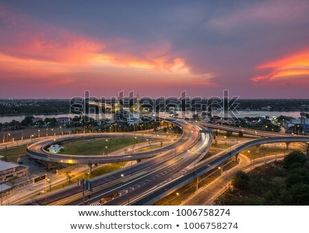 bridge in nonthaburi thailand sunset stock photo © vichie81
