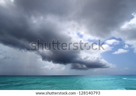 Cumulus clouds over caribbean turquoise sea Stock photo © lunamarina