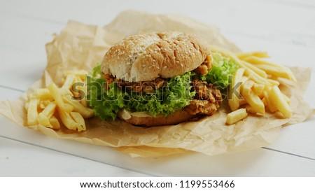 heerlijk · kip · hamburger · rundvlees · tomaat · kaas - stockfoto © dash