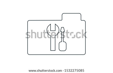 Stock photo: Folder Icon tools or settings in trendy flat style isolated on white background, for your web site d