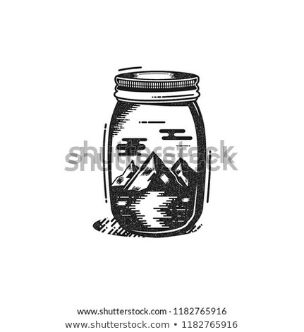 silhouet · pijnboom · sluiten · shot · berg · steen - stockfoto © jeksongraphics