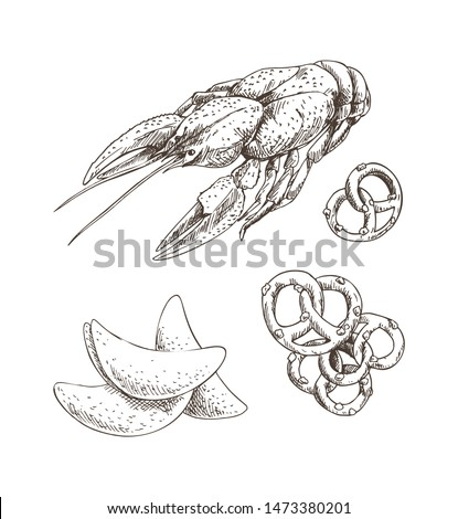 Graphic Art of Crayfish with Chips and Pretzel Stock photo © robuart