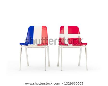 Dois cadeiras bandeiras França Dinamarca isolado Foto stock © MikhailMishchenko