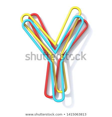 three basic color wire font letter y 3d stock photo © djmilic