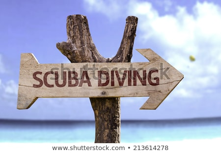 scuba diving directional sign on beach stock photo © andreypopov