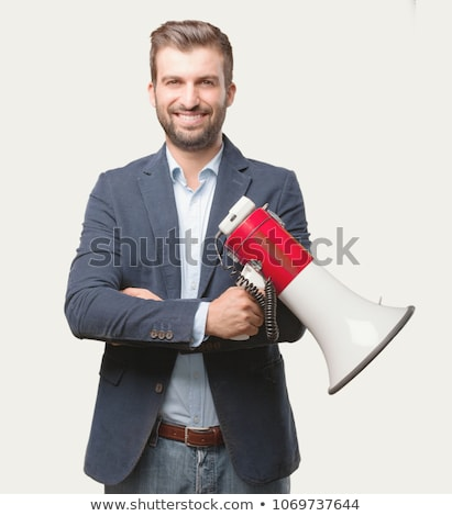 Happy young successful speaker in elegant suit Stock photo © pressmaster
