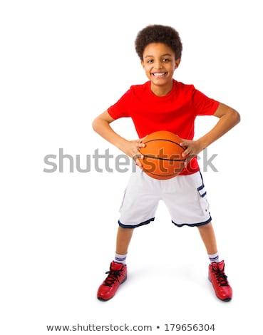 Tinédzser kosárlabdázó fehér sport diák portré Stock fotó © Lopolo